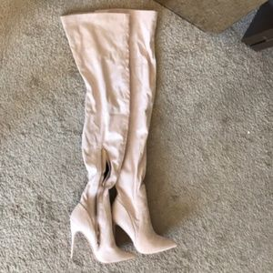 NWOT stone thigh high boots